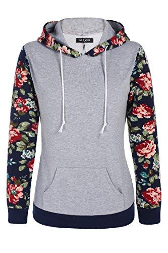 ACEVOG Donna stampato floreale manica lunga Felpa con cappuccio Maglia