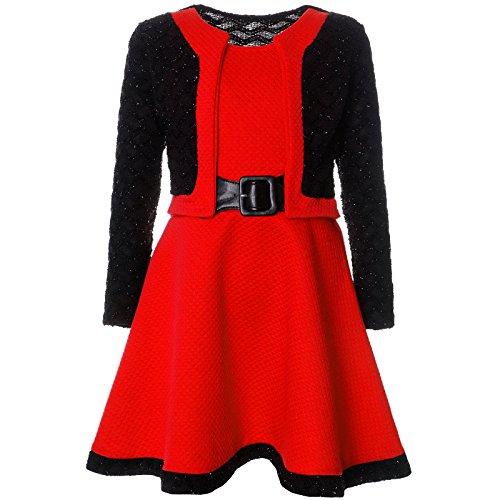 BEZLIT Mädchen Spitze Winter Kleid Langarm 21644, Farbe:Rubinrot, Größe:152