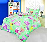 Love2Sleep Baby COT Bed Duvet Cover with Pillowcase- Superior Natural Cotton Rich 120 X 150 cm - Cats and Owls