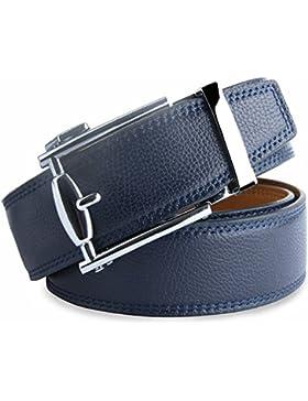 Hombres Cinturón De Cuero Azul Con Hebilla Diseñado para caballero LOWD-U1016