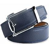 Herren leder Gürtel Bedruckte Ledergürtel für Männer mit Automatik Gürtel Reversible Leder Breiter Gürt 35MM Breiter Blau LOWD-U1016-01