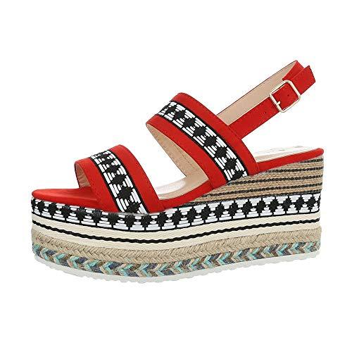 Ital-Design Damenschuhe Sandalen & Sandaletten Keilsandaletten Synthetik Rot Multi Gr. 36 Multi-schuhe