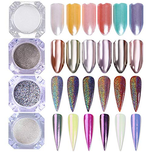 BORN PRETTY 4er Nagel Puder Set Maniküre Pulver für Nagel Design mit Spiegel und Holo Effekt, Meerjungfrauen Nagellack, Perlen Glanz Schimmer