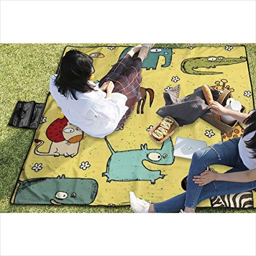 BigHappyShop Picnic Blanket Grunge African Animals Collection No 2 Waterproof Extra Large Outdoor Mat Camping Or Travel Easy Carry Compact Tote Bag -