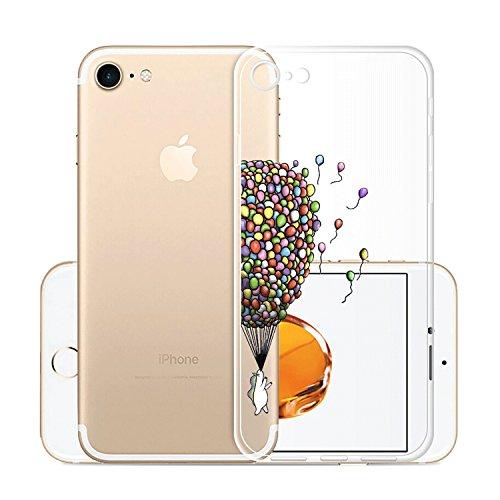 Custodia per iPhone 8, Custodia per iPhone 7, JIENI Trasparente Cover Moda Palloncini colorati Flessibile TPU Silicone Bumper Case per iPhone 8 (2017) et iPhone 7 (2016) HX53
