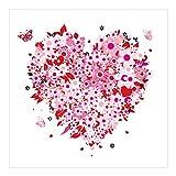 Vliestapete–Retro Floral Heart–Wandbild quadratisch
