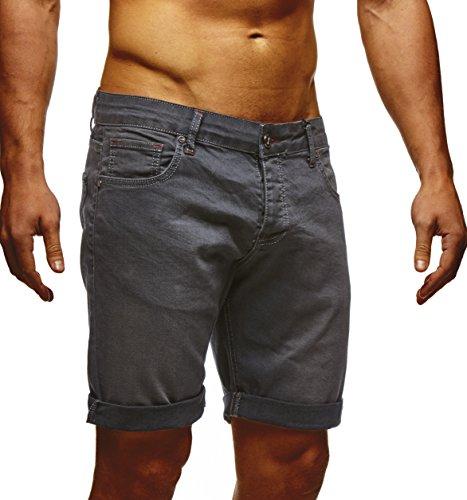 LEIF NELSON Herren Jeans Shorts LN1397 Anthrazit