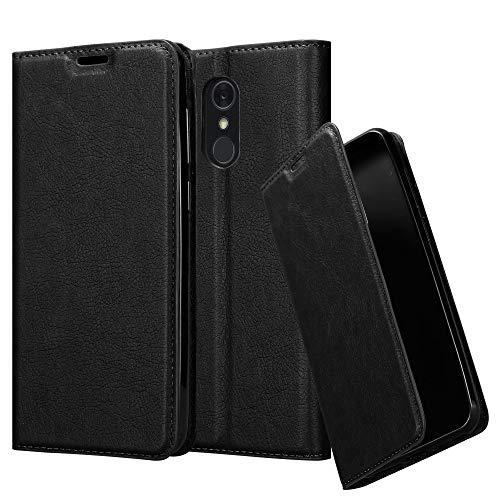 Cadorabo Hülle für LG Q Stylus - Hülle in Nacht SCHWARZ – Handyhülle mit Magnetverschluss, Standfunktion und Kartenfach - Case Cover Schutzhülle Etui Tasche Book Klapp Style