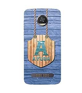 YuBingo Designer Printed Plastic Mobile Back Case Cover Panel for Motorola Z2 Play ( Name Surname Ayush (Wood Finish Printed on Plastic) )
