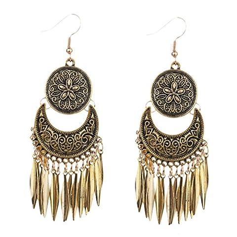YAZILIND Bohemian Vintage alliage plaqué argent bronze rond forme de la pièce Crave gland Drop pende crochet boucles d'oreilles femmes filles cadeau