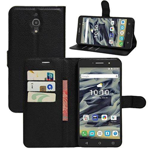 HualuBro Alcatel Pixi 4 (6 Zoll) 4G Hülle, Leder Brieftasche Etui Tasche Schutzhülle HandyHülle [Standfunktion] Lederhülle Flip Case Cover für Alcatel OneTouch Pixi4 6.0 Zoll 4G 9001X (Schwarz)