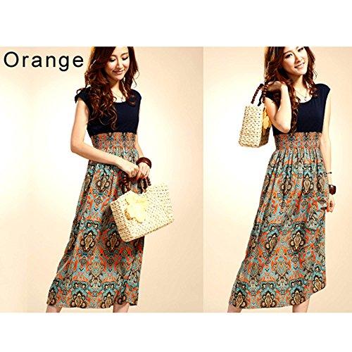 Cravog Femme Vintage Sans Manches Bohémien Taille Haute Jupe Longue Robe Orange