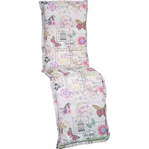 nxtbuy Auflage für Relaxliegen Nizza 170x52x8cm - Liegenauflage mit Komfortschaumkern und Bezug - Sitzpolster für Gartenliegen, Dessin:Flowers & Butterflies