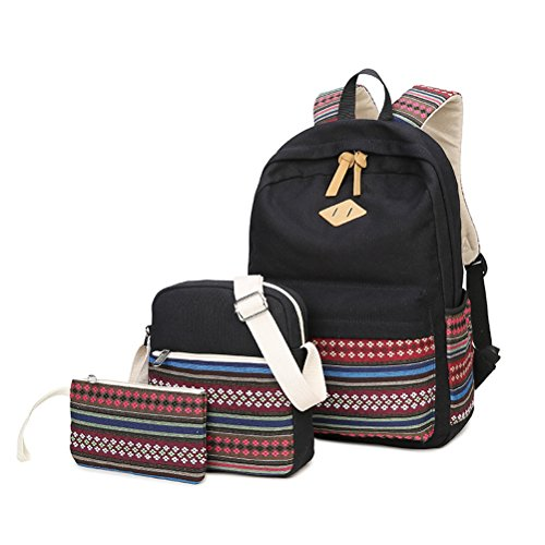 Zaino Casual Scuola Set 3pcs Daypacks/Canvas Backpack Tela Zaini Ragazza/Donna+ Messenger Bag + Purse-Tipo C Nero