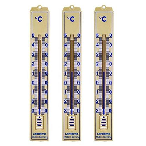 Beige Bedruckt (3 Stück Set Analog Innen , Aussen , Garten Thermometer . Kunststoff beige bedruckt)