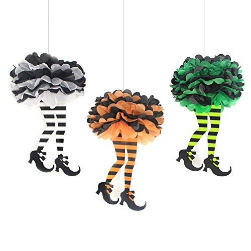 SUNBEAUTY 3er Set Hexe Beine Pompoms Papier Halloween Dekoration