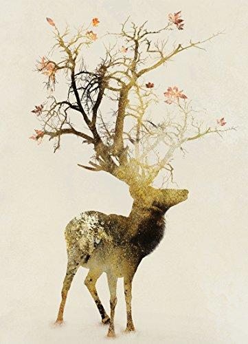 """JUNIQE® Leinwandbild 30x45cm Hirsche - Design """"Autumn"""" (Format: Hoch) - Leinwand, Bilder auf..."""