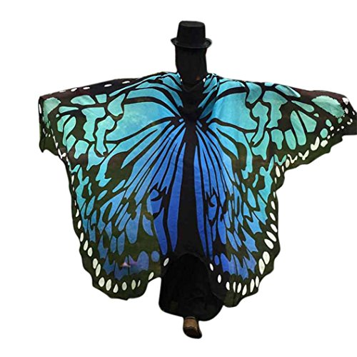 üm Schmetterling Damen Mädchen Flügel Fee Nymphe Elfen Flügel (197*125CM, Blau-B) (Katze, Einhorn Kostüm)