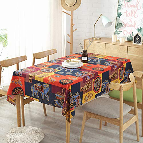 WENXIAOXU Elegante Tischdecke staubdicht abwaschbare Küchentischdecke,Impression ethnischen Stil Tischdecke1140 * 250CM -
