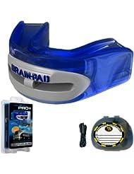 Brain-Pad LoPro+ - Protector bucal/de la articulación mandibular, canal doble, para hombre, azul/gris, tamaño 2