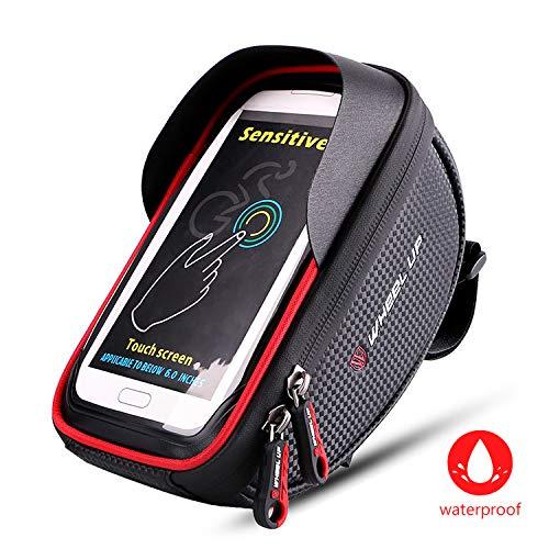 Fahrrad Rahmentasche Wasserdicht,Fahrradtasche Oberrohrtasche Fahrrad Handy Tasche Lenkertasche für iPhone X MAX XR XS 8 7 Plus/6s Plus/6 Plus/Samsung s7 edge andere bis zu 6,5 Zoll Smartphones