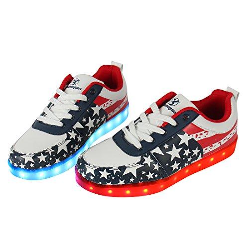 Unisex Sapatos Leutchtschuhe Levou De Mulheres Carga Esportes 7 Shinmax Raparigas homens Com Sapatos Crianças Ce Certificado Tênis Para Vermelha Usb Estrela E Cores Unisex Brilhante ZFcfqFrd