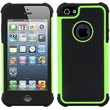 kwmobile Funda híbrida para > Apple iPhone SE / 5 / 5S < en verde neón negro. Interior de gel TPU, ¡estructura rígida! Ideal para uso al aire libre y ultramoderna