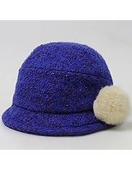 Sombrero Mujer Otoño E Invierno Días De Lana De Espesamiento De Lana Mantener Cálido Cuenca Cap ( Color : Azul )