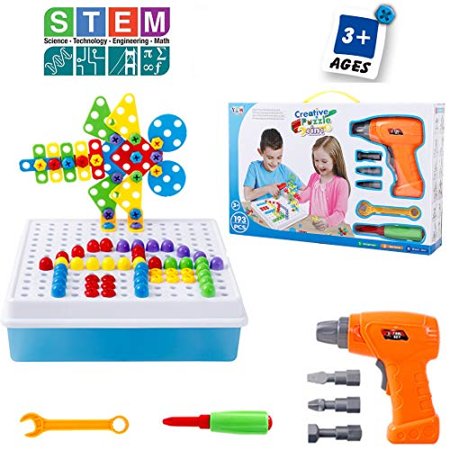 ILofun 4 in 1 Build & Drill Educational Construction and STEM 193 pc preschool Engineering Toy Building Blocks Board Game for 3, 4, 5 6+ Year Old Boys & Girls
