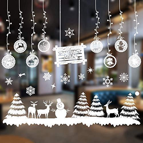s 2 x Weihnachts-Fenster-Aufkleber, Wandaufkleber, Weihnachtsdekoration, abnehmbare Kunst-Dekoration, Weihnachtsbaum, Schneeflocke, Wandaufkleber ()