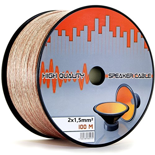 LOKMANN 100 Meter 2 x 1,5 mm² Lautsprecherkabel CCA-Kupfer Transparent PVC- Dielektrikum Speaker HiFi Boxen Cable (100m, 2X 1,5mm)