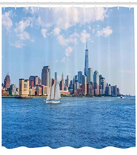 Abakuhaus New York City Duschvorhang, Manhattan Skyline, mit 12 Ringe Set Wasserdicht Stielvoll Modern Farbfest und Schimmel Resistent, 175x180 cm, Blau grau