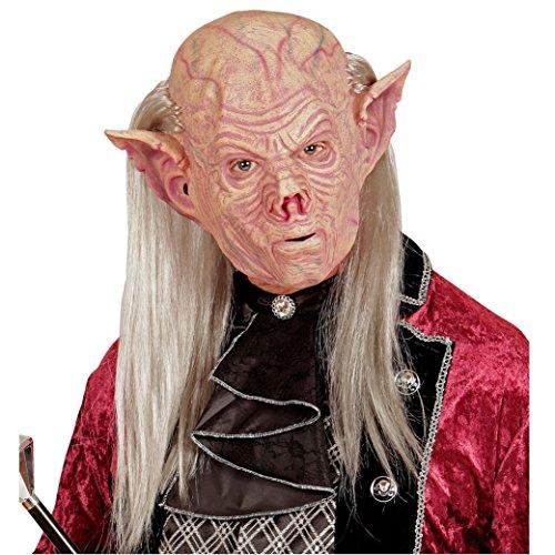 Vampir-maske Für Erwachsene (Widmann 05401 Vampir Maske mit Haaren, Rosa, One Size)