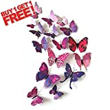 Vivid Butterfly 3D Wall Stickers Home Art Decal Colors 12Pcs Mix Sizes Kids Room (purple)