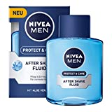 Nivea Men Protect & Care After Shave Fluid im 3er Pack (3 x 100 ml), Aftershave pflegt die Haut nach der Rasur, feuchtigkeitsspendende und beruhigende Gesichtspflege