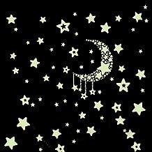 Pegatina de pared vinilo adhesivo decorativo para cuartos de estrellas y luna luminosa fluorescente de OPEN