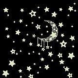 Pegatina de pared vinilo adhesivo decorativo para cuartos de estrellas y luna luminosa fluorescente de OPEN BUY