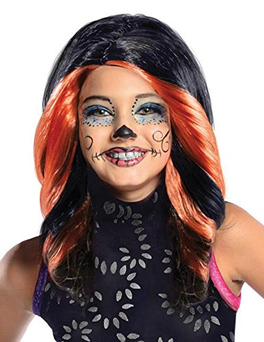 Monster High Skelita Calaveras Kinder Perücke Lizenzware schwarz orange (Skelita Calaveras Kind Perücke)