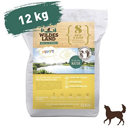Wildes Land | Trockenfutter für Hunde | Nr. 8 Puppy Ente & Huhn | 12 kg | mit Kartoffeln und Wildkräutern | Glutenfrei & Hypoallergen | Extra viel Fleisch | Beste Akzeptanz und Verträglichkeit (Hundefutter Huhn)
