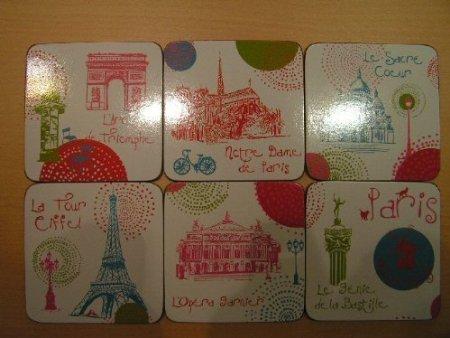 FRANZOSICH VINTAGE COASTER RETRO WERBUNG PARIS EIFFELTURM NOTRE-DAME ARC DE TRIOMPHE Paris Coaster