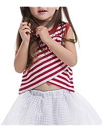 COMVIP - Camiseta de manga corta - Ajustada - Rayas - Sin mangas - para niña