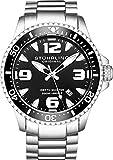 Stuhrling Original para hombre Swiss profesional de acero inoxidable de cuarzo deporte reloj de buceo, resistente al agua 200metros, easy-adjustable pulsera, de rosca corona 842serie