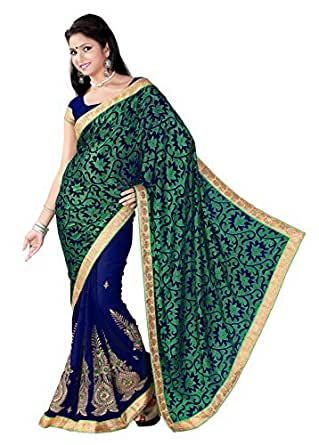 Blissta Faux Georgette Saree (Gfshk50_Green And Blue)