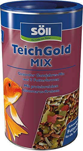 Söll 18808 Teich-Gold Mix - Alleinfuttermittel für alle Teichfische - Fischfutter - Gartenteich, 1er Pack (1 x 1 l)