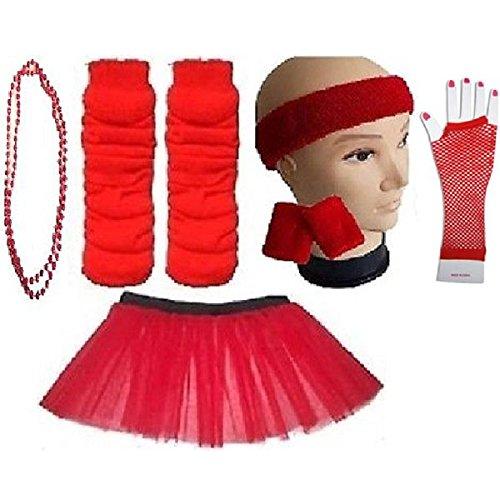 Plus Size 16-24 - Neon Tutu Skirt Headband Wristbands Legwarmers Necklace Fishnet Gloves - 9 Colours