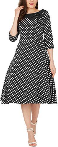 'Iris' 50's Polka-Dots Kleid mit besetztem Ausschnitt - 4