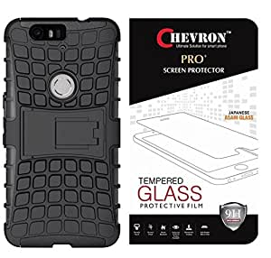 Chevron Tough Hybrid Back Cover Case with Kickstand for Huawei Nexus 6P With Pro+ 0.3m Tempered Glass (Black)