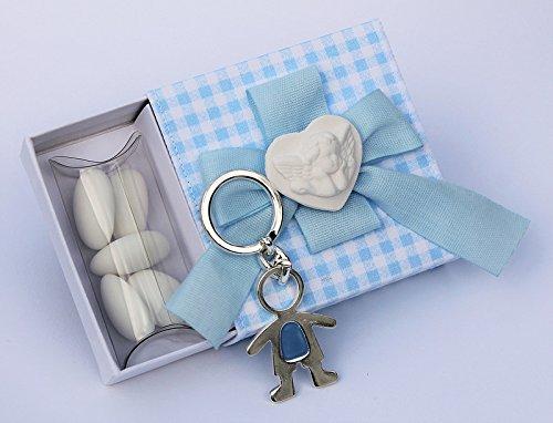 Bomboniera con confetti, scatolina quadretti azzurro con cuoricino angioletto e portachiavi bimbo (per urgenze provare a contattare il venditore)