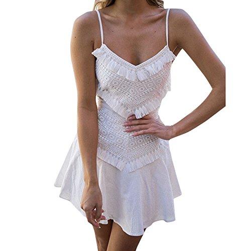 fe Spitze Rückenfrei Minikleid Abend Party Kleid Sommerkleider Vintage Boho Blumen Kleid Neckholder Strandkleider Minikleid (Tanz Kostüme Schuluniform)