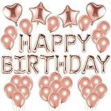 Alohar 37 Stück Roségold Luftballons Party Dekoration - Geburtstagsfeier Konfetti Ballons Latex Transparente Ballons Folienballons für Geburtstag Party